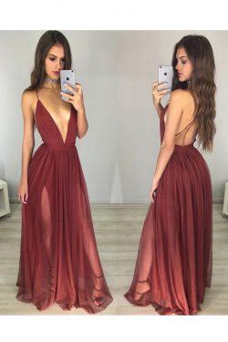 2019 correas de espagueti una línea vestidos de noche de tul con la raja US$ 119.99 VTOPX8Z4BSR  ...