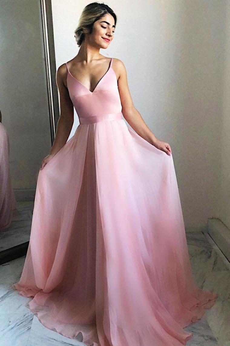 Correas espaguetis con cuello en V simples vestidos de fiesta rosa fluidos simples Vestidos de b ...