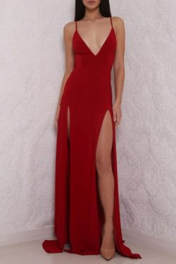 Correas espaguetis Frente largo dividido Rojo espalda abierta Vestidos de baile simples US$ 129. ...