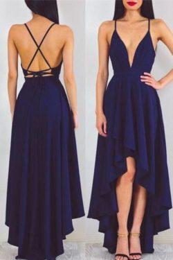 2019 correas espaguetis gasa una línea de vestidos de baile asimétrico encaje US$ 99.99 VTOPFM5T ...