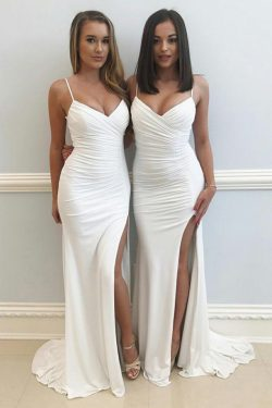 Correas espaguetis Ivory larga vaina vestidos de dama de honor elegantes simples US$ 119.99 VTOP ...