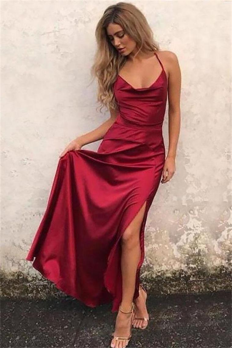 Correas espaguetis largos simples baratos Borgoña vestidos de baile vestidos de fiesta US$ 129.9 ...