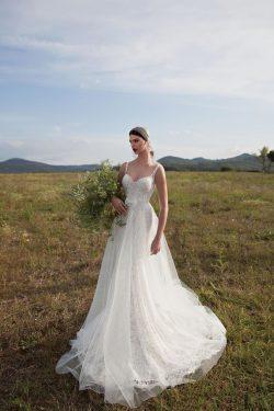 2018 correas espaguetis vestidos de novia de una línea de tul y encaje barrer de tren capilla de ...