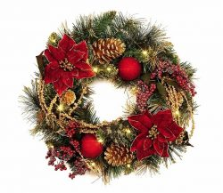 Burgundy Poinsettia, Cone and Bauble Wreath