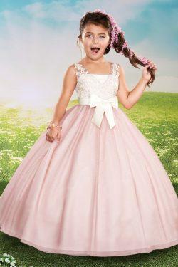 2018 de bola del vestido niña de las flores vestidos de cuello en V de tul con apliques y faja U ...