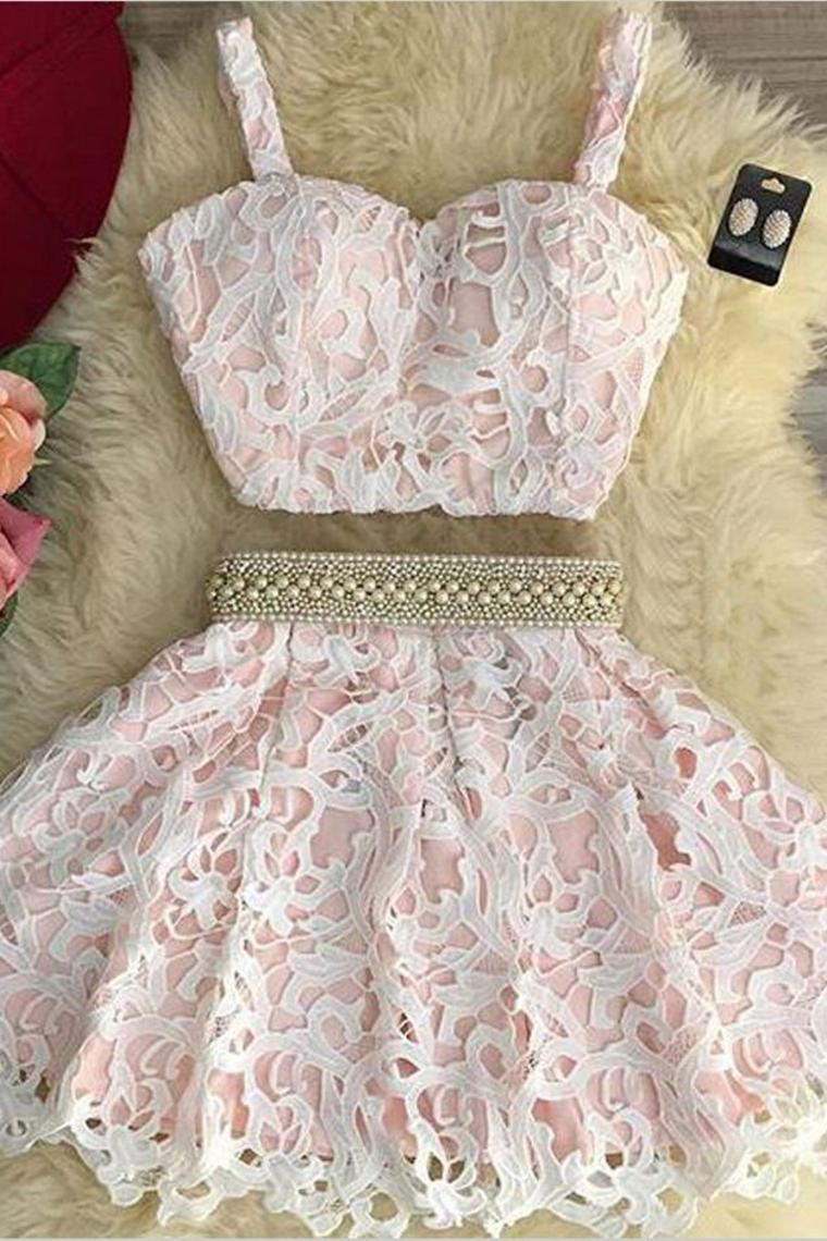 2019 de dos piezas una línea de encaje Homecoming vestidos espaguetis correas rebordeado cintura ...