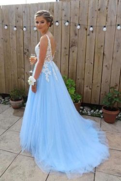 Elegant Blue Chiffon A line V Neck V Back Tulle Lace Long Prom Dresses, Evening Dress PW270 on s ...