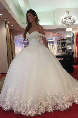 2019 Elegante de los vestidos de novia de Tulle boda con Appliques US$ 399.99 VTOP1QS11ZL – ...
