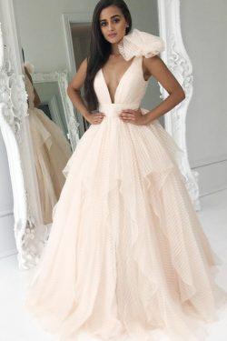 Elegante escote en V profundo vestido de fiesta rosado Vestidos de fiesta de princesa Vestidos d ...