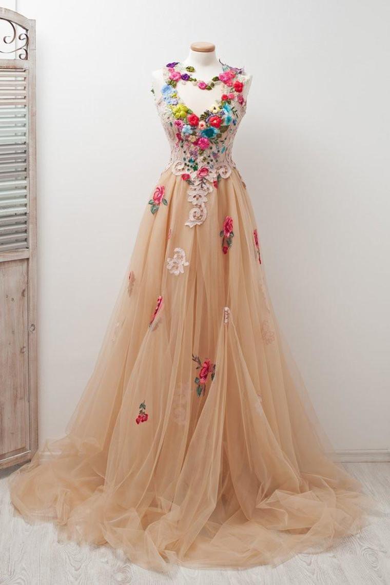 Encantadora espalda abierta con encanto de tul elegantes vestidos de baile apliques vestidos de  ...