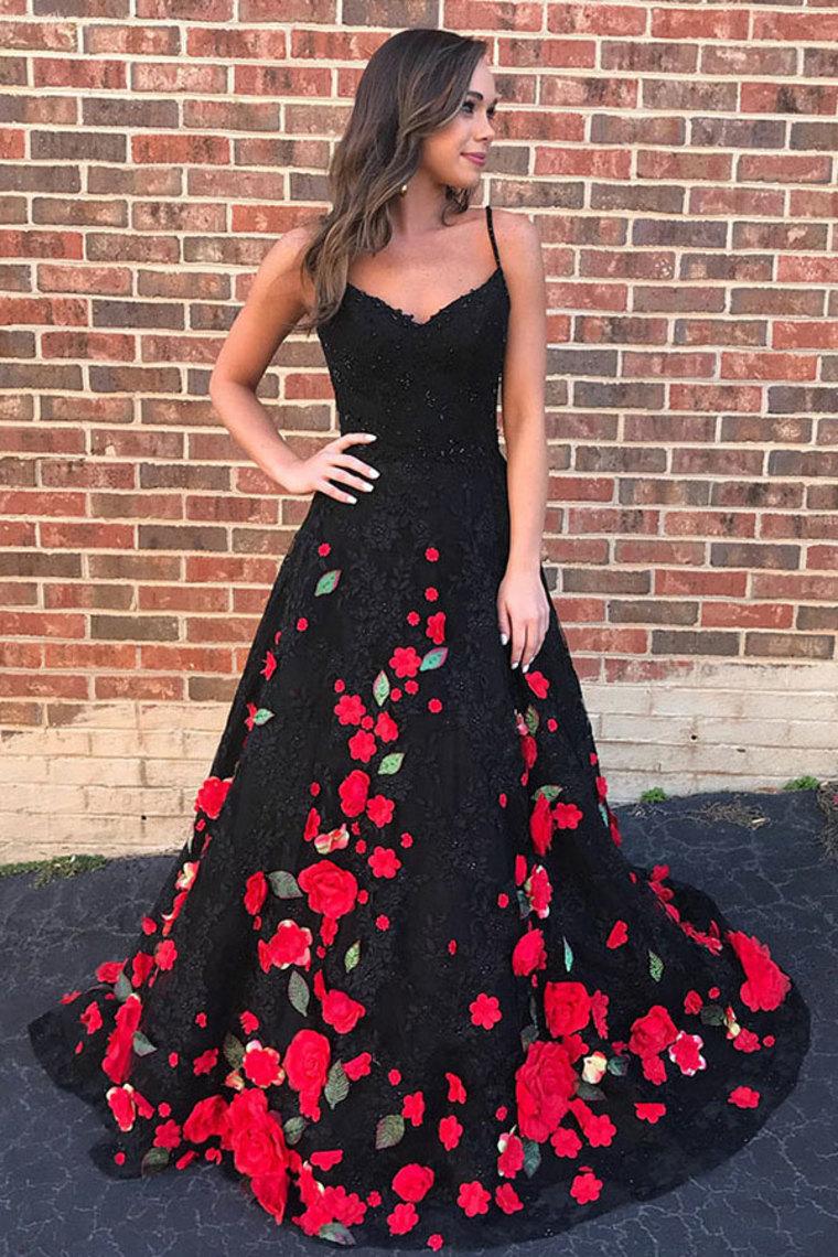 Encantadores correas espagueti largo negro y rojo princesa vestidos de baile US$ 279.99 VTOP2XSK ...