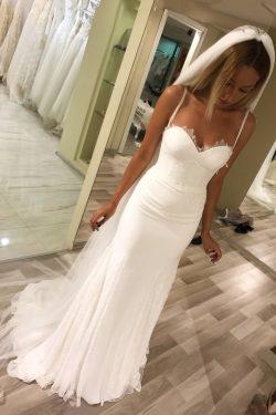 2019 espagueti correas de los vestidos de novia gasa y encaje con marco US$ 189.99 VTOP898B8H2 & ...
