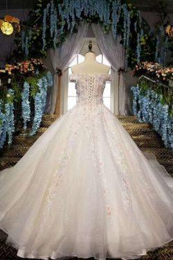 2018 Fantástico vestidos de boda florales encaje con aretes y flores hechas a mano fuera del hom ...