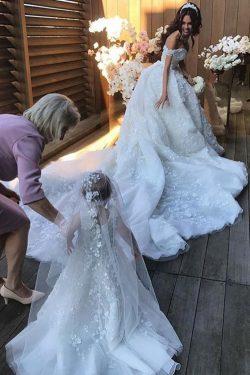 2019 Gorgeous Off The Shoulder Vestidos de novia Una línea de tul con apliques piso de longitud  ...