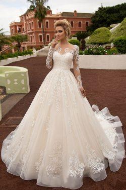 2018 mangas largas Bateau una línea de vestidos de novia de tul con apliques tribunal tren US$ 2 ...