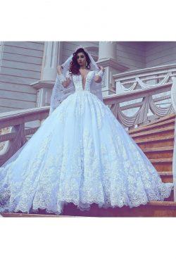 2019 mangas largas cuello en V vestidos de novia vestido de bola Tulle con tren de corte Appliqu ...