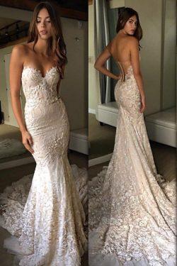 2019 Mermaid / trompeta vestido de novia de encaje y Tulle con apliques y tren de la capilla de  ...