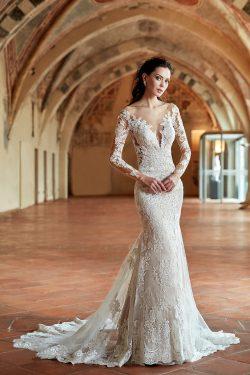 2018 nueva llegada cuchara mangas largas con apliques de tul vestidos de novia sirena US$ 319.99 ...