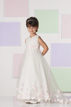 Nueva llegada vestidos de niña Una línea de cuello V de longitud de té Tul US$ 89.99 VTOP1K1XRGT ...