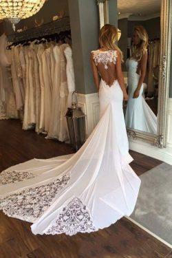 2019 nuevos vestidos de boda de la gasa de la cucharada de la llegada con la sirena del Applique ...