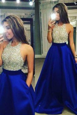 2017 Oscuro Azul real espalda abierta halter vestidos de baile con cuentas blusa de satén palabr ...