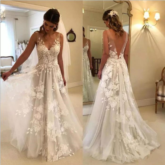 half off 79559 81c62 Elegant Brautkleider Weiße Günstig Spitze Hochzeitskleider ...