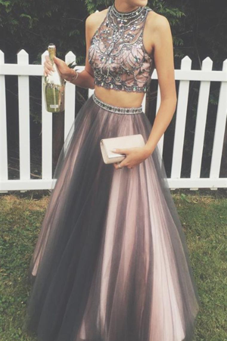 2 piezas de largo negro y rosa modesto abalorios una línea de vestidos de baile US$ 189.99 VTOPG ...