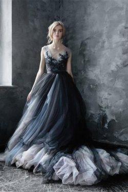Precioso vestido largo de bola de encaje de tul modesto princesa encantadora Vestidos de baile V ...