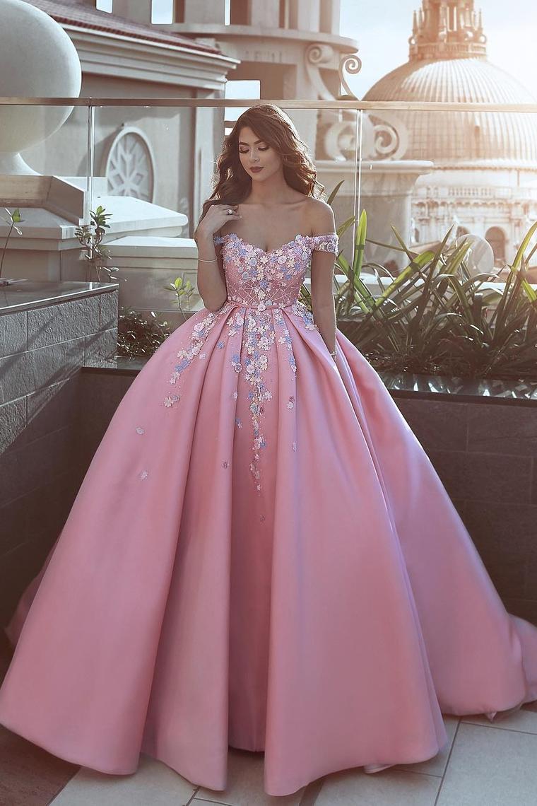 2018 Satin Off The Shoulder Una línea de vestidos de baile con flores y cuentas hechas a mano US ...