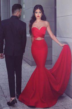 2018 satinado cariño acanalado Bodice vestidos de noche tren de barrido sirena US$ 99.99 VTOP2KQ ...