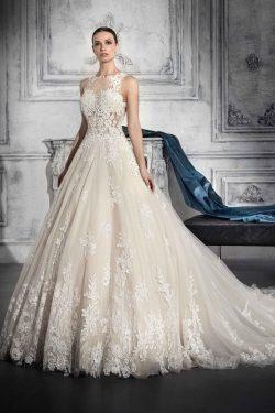 2018 Scoop A Line vestidos de novia de tul con apliques y perlas Chapel Train US$ 329.99 VTOP2YA ...