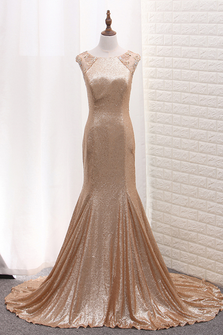 2019 Sequins Prom Dresses Scoop sirena con cuentas barrer el tren US$ 199.99 VTOPNBNTKH2 – ...