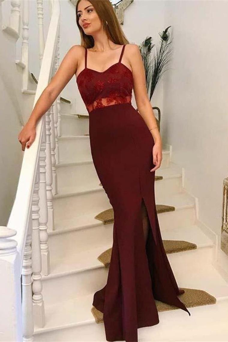 Sexy correas espaguetis Borgoña frente dividir largos vestidos de baile simples US$ 157.99 VTOPF ...