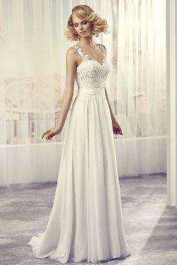 2017 Sexy espalda abierta de la cucharada de vestidos de novia de una línea de gasa con apliques ...