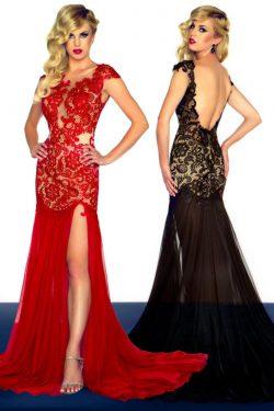 Sexy vestidos de baile Rojo y Negro vaina espalda abierta de barrido / cepillo tren gasa US$ 179 ...