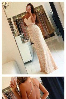 2018 Shiny Sexy Sheath Sequins Prom Vestidos con correas de espagueti Longitud piso abierto Volv ...