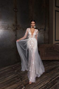 2018 sirena mangas largas vestidos de novia tul y encaje con apliques y flores hechas a mano US$ ...