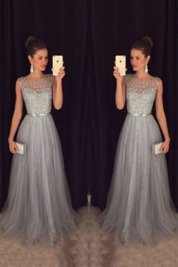 2019 Tulle cucharada una línea de vestidos de baile de fin de curso con el marco y bolas Corpiño ...