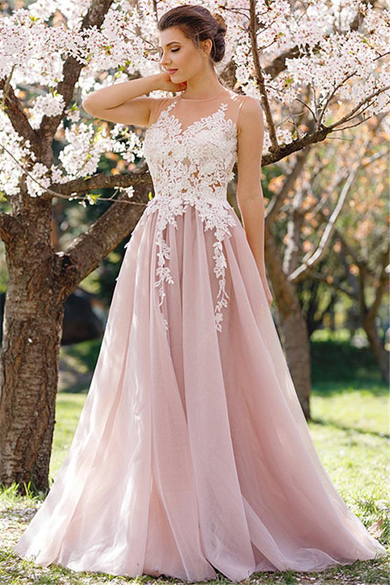 2018 Tulle Prom Dresses Scoop con Applique una línea de tren de barrido US$ 159.99 VTOPQMLNCSS & ...