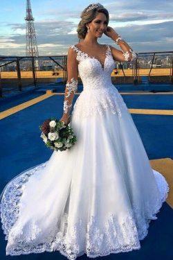 2019 una línea de manga larga cuello en V vestidos de novia Tulle con tren de corte Applique US$ ...