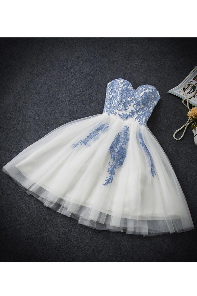 2019 una línea de tul de amor con applique corto / mini vestidos de regreso a casa US$ 149.99 VT ...