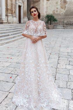 2018 una línea de tul Scoop vestidos de novia con apliques barrer el tren US$ 369.99 VTOP2YRQ6KN ...