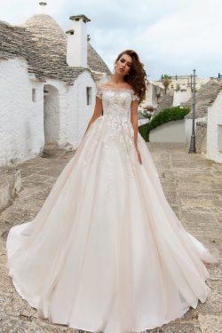 2018 una línea del hombro tul vestidos de novia con apliques tribunal tren US$ 289.99 VTOP8QGRDE ...