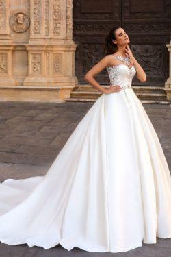 2019 Una línea muchacha de los vestidos de boda del satén con rebordear el tren de Chaple US$ 26 ...