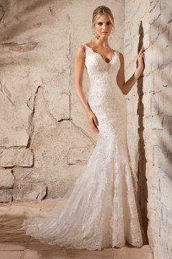2017 V-cuello de la boda vestidos de sirena de Tulle con apliques Y Granos US$ 349.99 VTOPLZNAQ2 ...