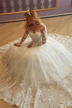 2019 vestido de bola largo de las mangas de los vestidos de boda de la llegada nuevo Tulle con A ...