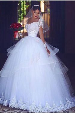 2019 vestido de bola vestidos de novia de tul cuchara mangas largas con apliques de tren capilla ...