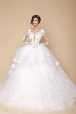 2018 Vestido de los vestidos de boda de la cucharada de la bola de manga larga de tul con apliqu ...