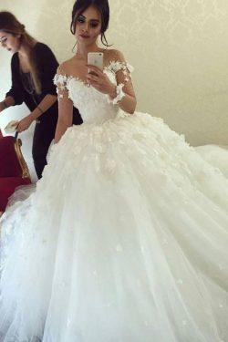 2018 Vestido de novia A-Line Tulle con flores hechas a mano y perlas mangas largas US$ 339.99 VE ...