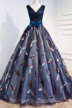 2018 Vestidos de baile de fin de curso del cuello del cuello de V una línea con el marco y el tr ...
